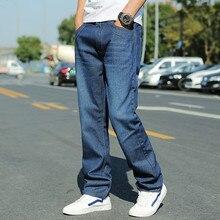 Mens Loose Fit Skateboard Jeans Homme 2019 Autumn Streetwear Blue Jeans for Men Oversized Straight Denim Pants Plus Size 44 46 недорго, оригинальная цена