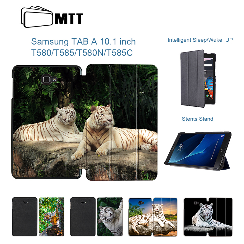 MTT Slim Trifold Tiger Case for Samsung Galaxy Tab A A6 10.1 2016 T585 T580 SM-T580 T580N PU Leather Case Stand Protective Cover все цены