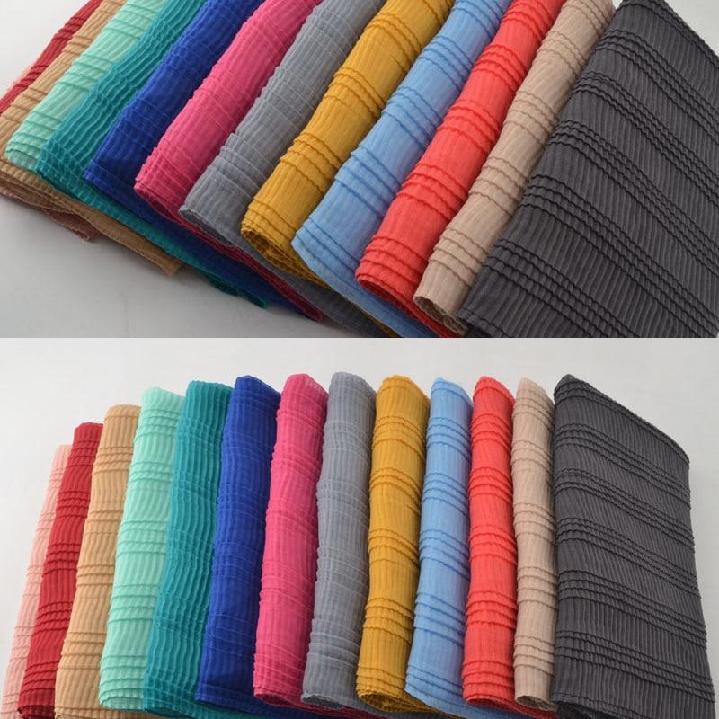 Women 2019 plain cotton scarf Ripples Plain hijab Muslim hijab shawls and scarves head wrap cotton