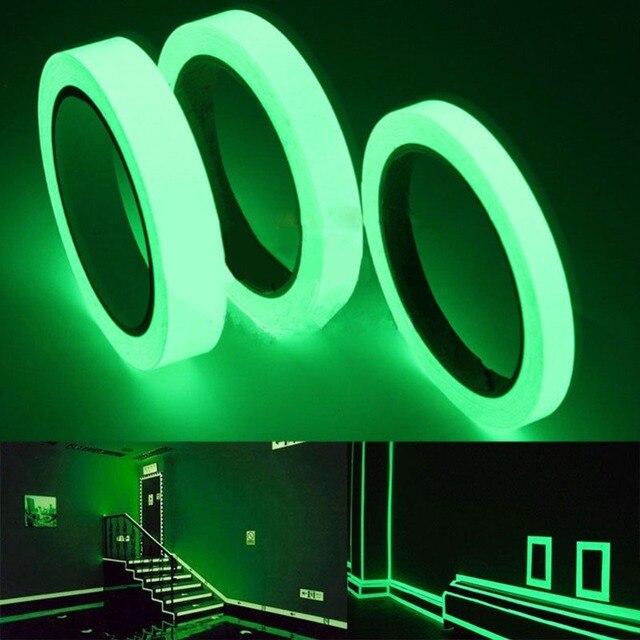 1.5cm * 1m 빛나는 형광 밤 어두운 스티커에 자기 접착 광선 테이프 안전 보안 홈 장식 경고 테이프
