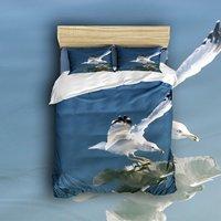 4 Peça Conjunto de Folhas de Cama 3D Impressão Gaivota Voando no Céu Água azul 1 1 Capa de Edredão Folha Plana e Travesseiro 2 casos