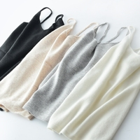 100 Cashmere Knitted Tank Top Vest Women Basic Clothing Solid Tops 4 Colours Cacual Style Autumn