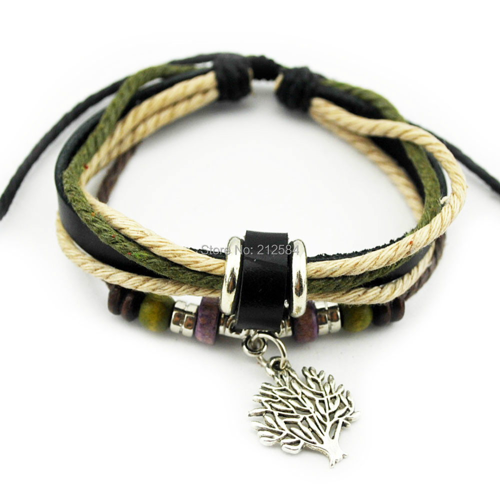 Women Hemp Leather Bracelet Wristband  Adjustable Handmade Wrap Charm Bracelet Gift Free Shipping