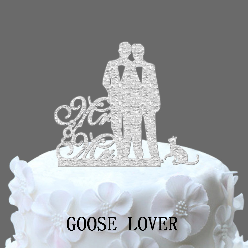 Personalize Name Acrylic Glitter Gold Silver Men Couple Cake Topper Wedding Cute Cat Supply Party Decoration Accessory