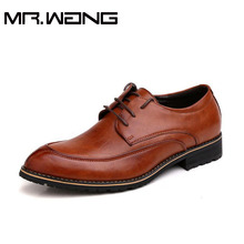 Brand new arrive mens genuine leather shoes men's dress fashion shoes lace up Pointed toe flats 3 colors size 37-44 AA-02