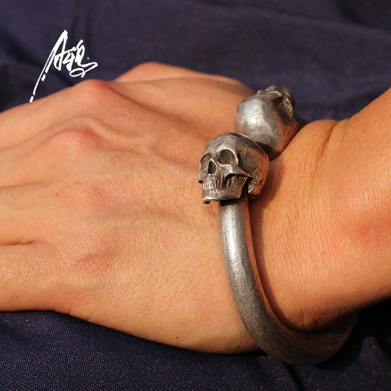 Vintage Skull Bracelet Heavy Quality Design 80 78mm Skeleton Bangle Men Man Male Punk Rock S925