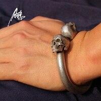 Винтаж череп браслет тяжелый качественный дизайн 80*78 мм браслет со скелетами Для мужчин человек мужские панк рокерские S925 ювелирное издели