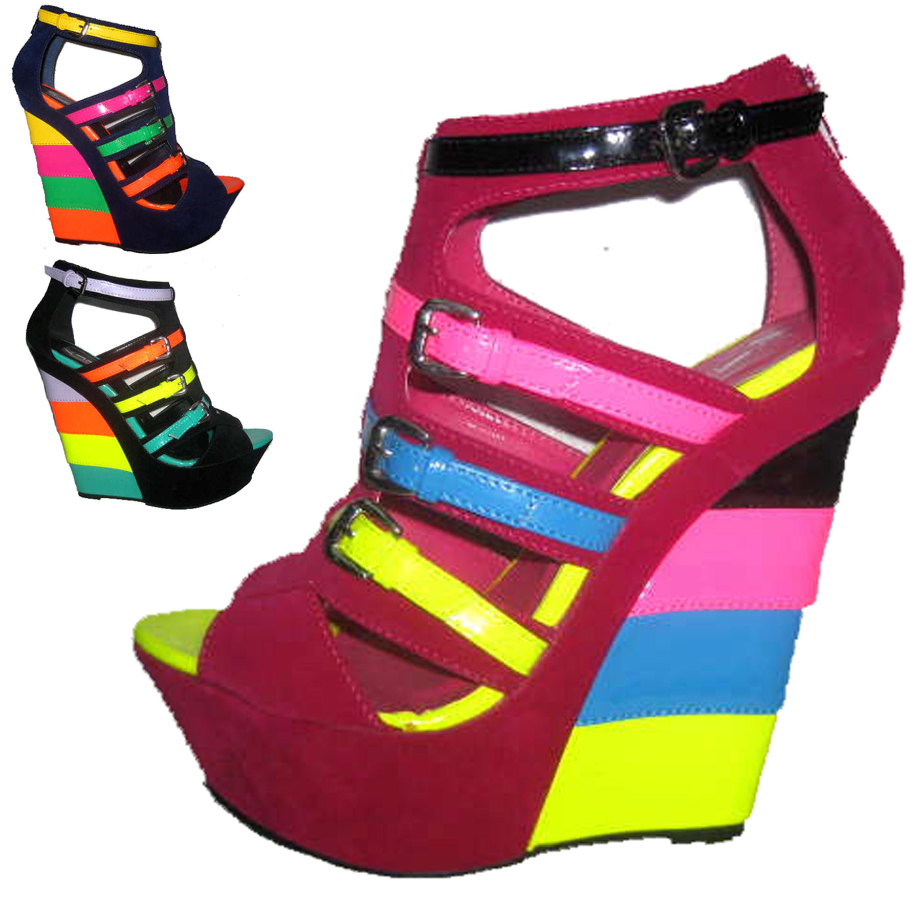 Hot New Design Candy neon colorant match velvet leather Buckle strap ladies Wedge sandals ultra high heels wedges plus size36-41 aqua pa ultra soft match 100m 0 18mm 3 60kg