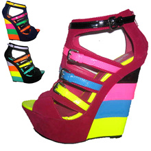 Hot New Design Candy neon colorant match velvet leather Buckle strap ladies Wedge sandals ultra high heels wedges plus size36-41