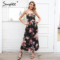 Simplee Sexy Floral Print Strap Backless Jumpsuits Women Solid Tie Up Bow Flare Opening Playsuits Summer