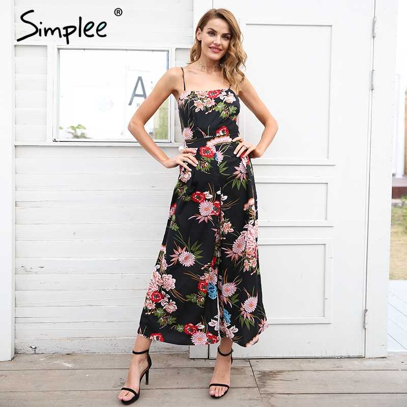 6a57f90bd9 Simplee Sexy floral print strap backless jumpsuits women Solid tie up bow  flare opening playsuits Summer