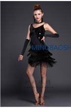 2019 Womens Dancewear Sequin Fringe Tassel Latin Dance Dress 4/5 Pieces Outfits Gloves+ Necklace+ Red Costume