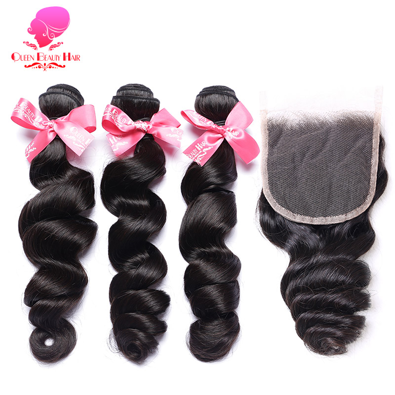 QUEEN BEAUTY 3/4 Brazilian Hair Weave Bundles with Closure 12  28 inch Natural Remy Human Hair Loose Wave Bundles with Closure-in 3/4 Bundles with Closure from Hair Extensions & Wigs    1