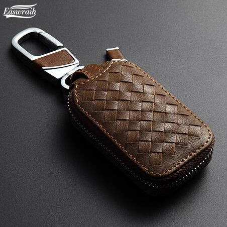 цена на Car Skin Leather Key Case Bag Ring For Toyota Prius Highlander Land Cruiser Prado FJ120 FJ90 150 Camry RAV4 Fortuner Key Wallet