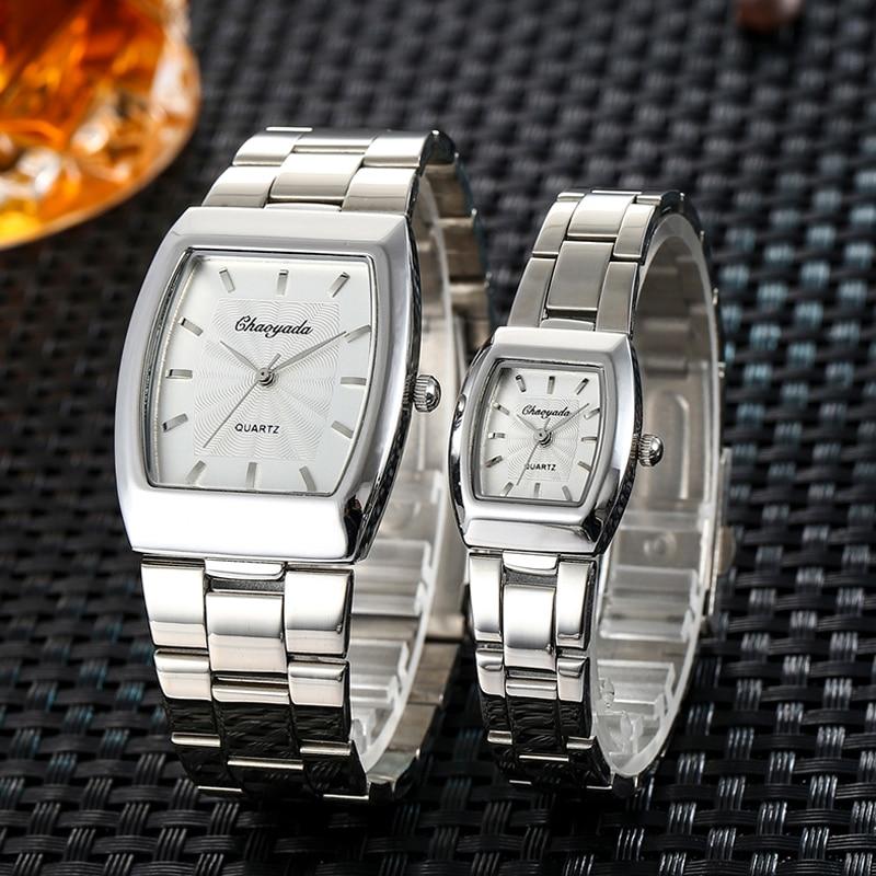 2018 Women Men Couples Lovers Stainless Steel Quartz Wristwatches Ladies Gentleman Dress Simple Business Fashion Bracelet Watch