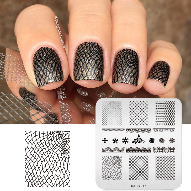 KADS Mote Blomster & Lace Design Nail Print Stempelplater Nail Art Template Beauty Manicure Stencil DIY Polish Tool