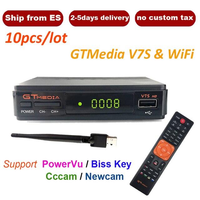 10pcs/Lot DVB-S2 Satellite TV Receiver Freesat V7 Upgrade to Gtmedia V7S+USB WIFI Support Network Sharing Youtube Spain Polish