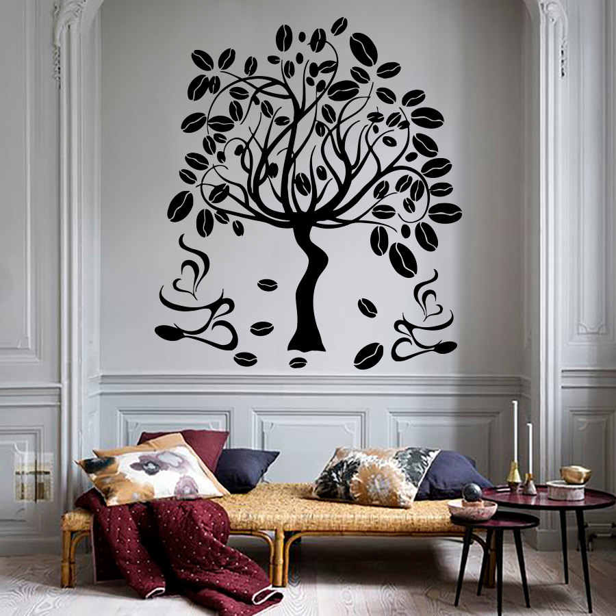 Coffee Tree Wall Decal Wall Sticker For Bedroom Living Room Poster  Removable Vinyl Wall Art Stickers Home Decor Decoration S-209