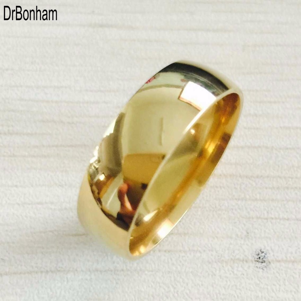 High polish wide 8mm men wedding gold rings Real 22K Gold filled 316L Titan..