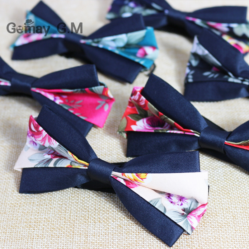 Floral Printed Men Bowtie For Wedding Casual Adjustable Adult 100% Polyester Bow ties