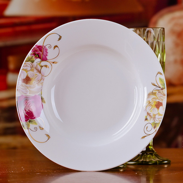 Fashion 8 inches Bone China Porcelain Dishes Plates Flower Pattern Ceramic Dinnerware Plates : flower pattern dinnerware - pezcame.com