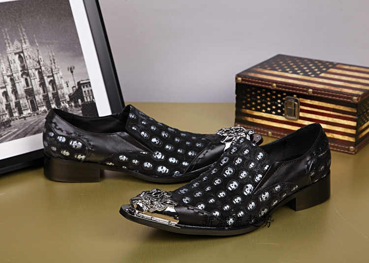 CH KWOK England Style Mens Shoes Casual Flats Leather Metal Toe Zapatos Hombre Skull Head Print