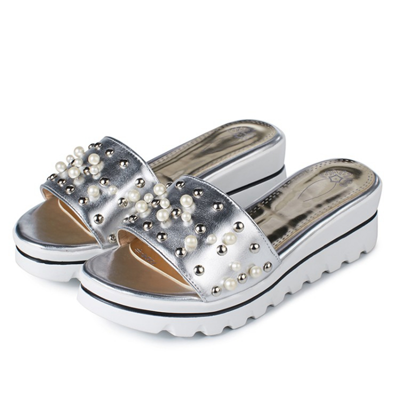 420928b64d0ce6 gold silver flip flops 2017 new design rivets decoration high platform  sandals women fashion high heels summer shoes on Aliexpress.com