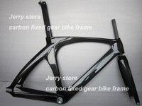 Полный углеродного волокна велосипеда Рама фиксированные передачи Односкоростной велосипед спереди вилка, гарнитура, подседельный штырь