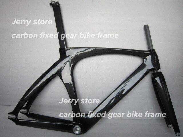 Cadre de piste de cadre de vélo en fibre de carbone à pignon fixe fourche avant de vélo à vitesse unique, casque, tige de selle 47/49/51/55 cm cadre en carbone