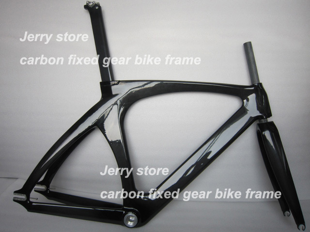 full carbon fiber bike frame,track and fixed gear single speed with fork and headset seat post size 47cm,49cm,51cm,55cm UDGlossy 53cm 55cm 58cm fixed gear bike frame matte black bike frame fixie bicycle frame aluminum alloy frame with carbon fork