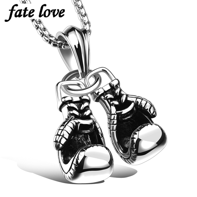 Fate love fashion necklace men jewelry stainless steel boxing fate love fashion necklace men jewelry stainless steel boxing glove pendants necklaces vintage accessories jewellery cool mozeypictures Image collections