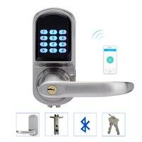 LACHCO совместимый со смартфонами через Bluetooth дверной замок с комбинированным атласным хромом с поддержкой Bluetooth код приложения смарт вход