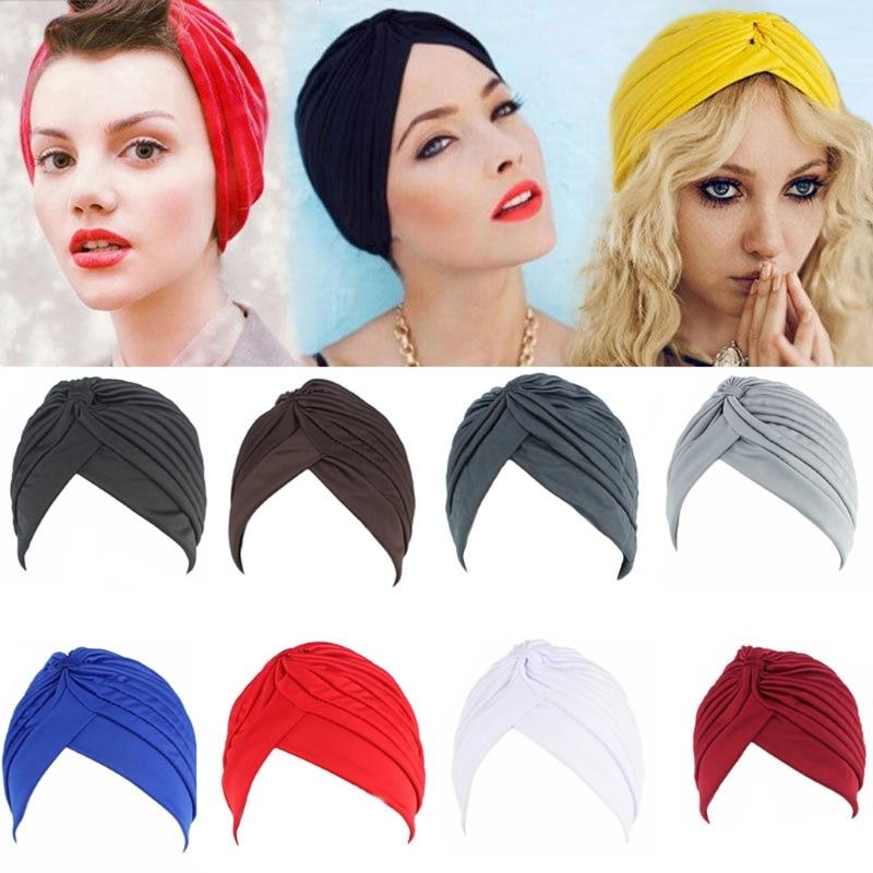 Women Men Turban Head Wrap Band Chemo Bandana Hijab Pleated Indian Cap