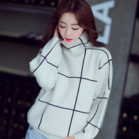 Women's Turtlenecks Pullovers Plaid Thick Full Batwing Sleeves Jumper Black White Womens Knitwear 2017