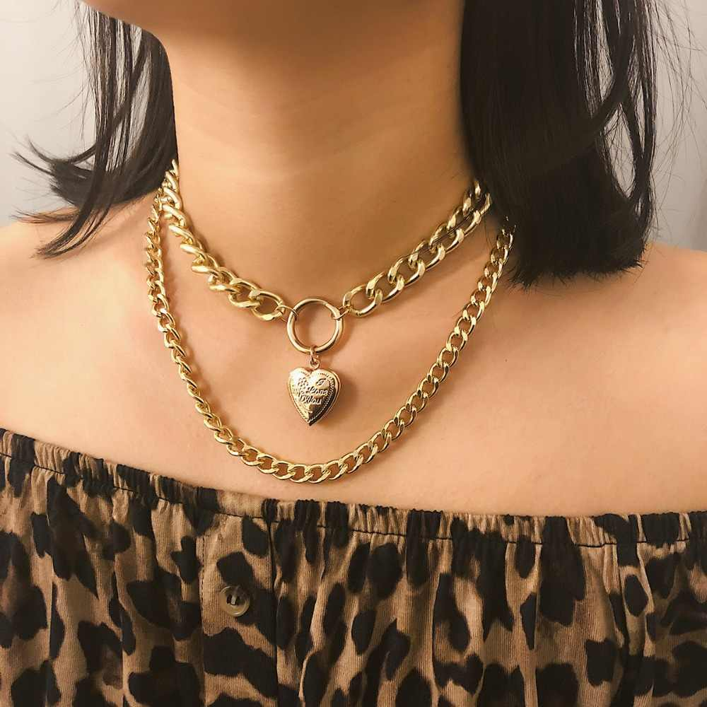 KMVEXO Punk Metal Heart Choker Necklace For Women Big Thick Chain Round Hollow Multilayer Pendant Long Necklaces Jewelry 2019