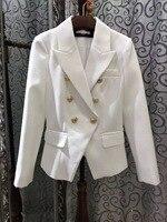 VogaIn 2016 럭셔리 새로운 브랜드 화이트 재킷 사자 골드 버튼 슬림 허리 블레이져