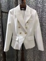 VogaIn 2016 Luxury NEW Brand White Blazer with LION GOLD BUTTONS SLIM WAIST BLAZERS