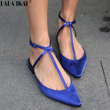 20127b077441 LALA IKAI Women Flats Pointed Toe Buckle Strap Shallow Mules Spring Summer  Flat Shoes Cross-