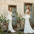 Bohemian Wedding Dresses Lace Full Sleeve Backless Boho Wedding Dress Bride Gowns V-neck robe de mariee Custom Made