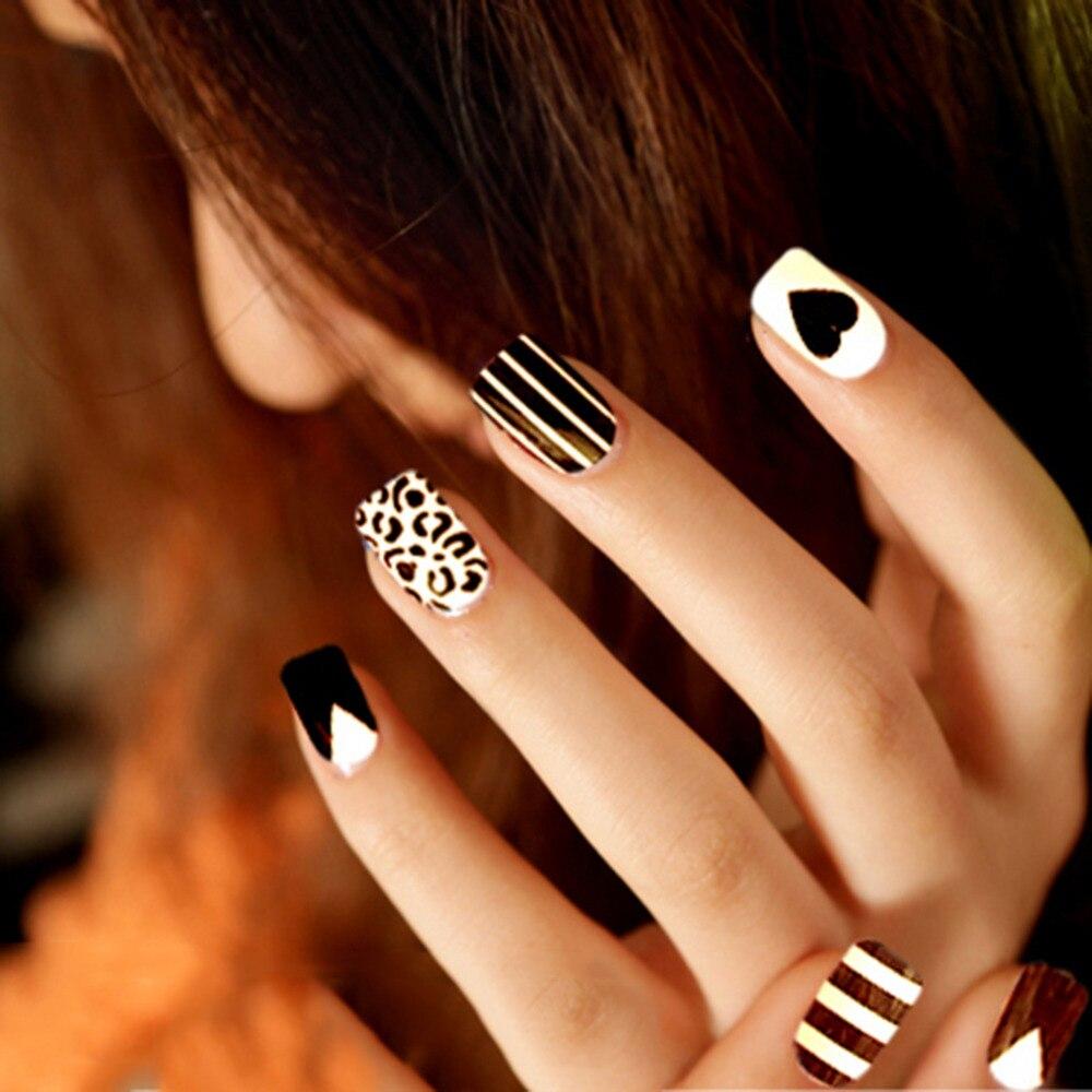 24 teile/schachtel Falsche Nägel Schwarz streifen Aufkleber Patches ...