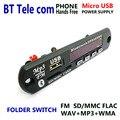 Dc 5 v micro usb fonte de alimentação bluetooth mãos livres tela lcd mp3 KIT jogador FLAC WMA WAV decoder Módulo de placa de áudio de Rádio FM SD