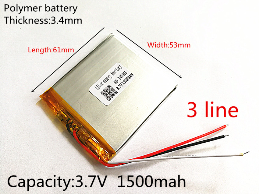3 line 3.7V 1500mAh 345361 Lithium Polymer LiPo Rechargeable Battery ion cells For Mp3 Mp4 Mp5 DIY PAD E-book bluetooth heads