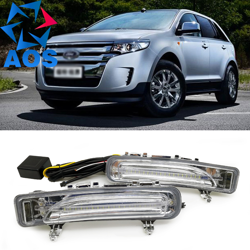 2PCs/set LED DRL Daylight Car Daytime Running lights drl fog lamp For Ford Edge 2011 2012 2013 2014 hot sale abs chromed front behind fog lamp cover 2pcs set car accessories for volkswagen vw tiguan 2010 2011 2012 2013