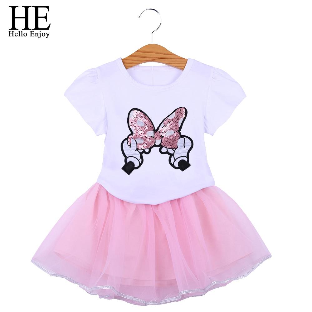 Toddler Girls Clothes Summer Dress Butterfly Print T-shirt+Skirts Pink Outfits