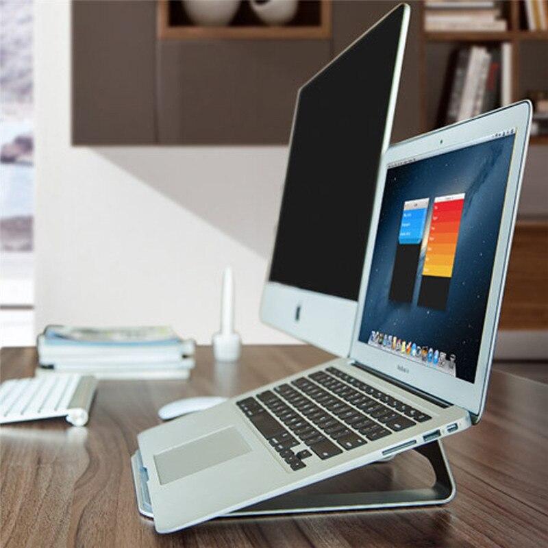 bilder für Qosea Protable Leichtbau Edelstahl Laptop Halter Kühler Stehen Unterstützung Schreibtisch Für iPad MacBook Notebook Cooling Rack