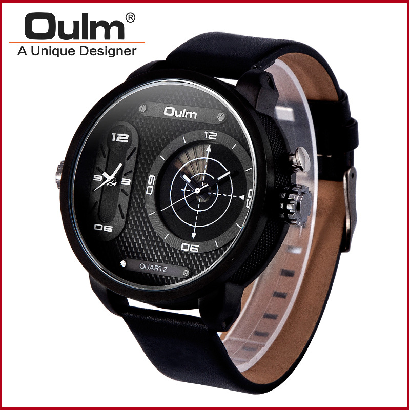 TEAROKE Men Watch Oulm Quartz Watch Luxury Brand Leather Strap Clock Dual Time Zones Black Sport Watch Male Wristwatch Big Dial big face original oulm 9316b brand japan movt quartz dz watch large men dual time male imported reloj hombre relogio masculino