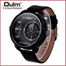TEAROKE Reloj de Los Hombres Oulm Reloj de Cuarzo Marca de Lujo Correa de Cuero reloj Dual Time Zones Negro Reloj Deportivo Hombre Reloj Grande Dial