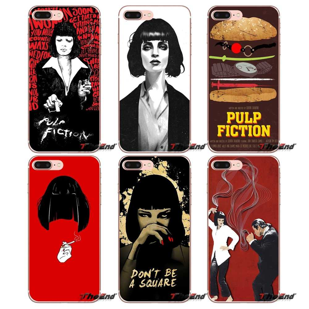 Pulp Fiction Mia wallace TPU Soft Case Para o iphone X 4 4S 5 5S 5C SE 6 6 S 7 8 Plus Samsung Galaxy J1 J3 J5 J7 A3 A5 2016 2017
