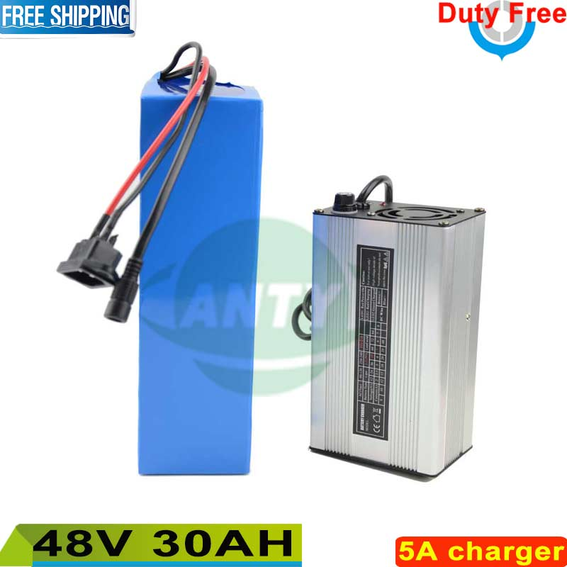 Free shipping / Duty Scooter Lithium battery 48V 30Ah 1440W Electric bike Battery 48V with 26650 cell 30A BMS + 54.6v 5A Charger us eu free customs duty lithium 48v 1000w e bike battery 48v 17ah for original panasonic 18650 cell with 5a charger 30a bms
