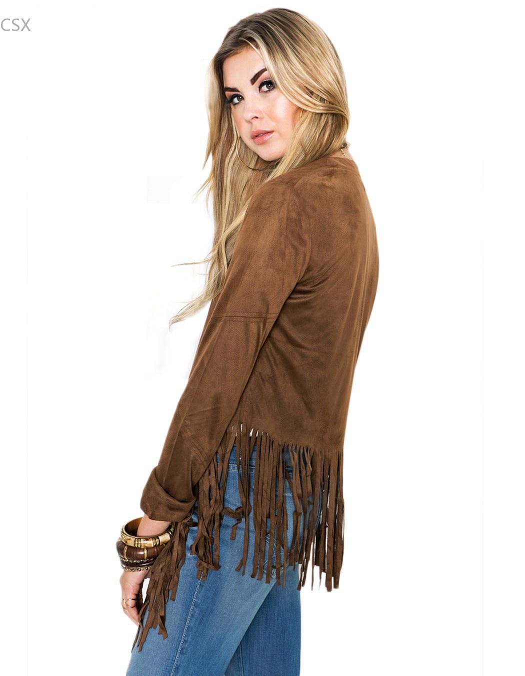 Куртка MwOiiOwM женская, с длинным рукавом и кисточками